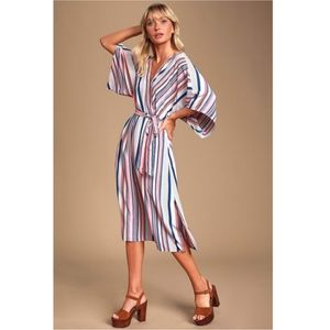 Lulu's high potential blue Striped Midi Dr…